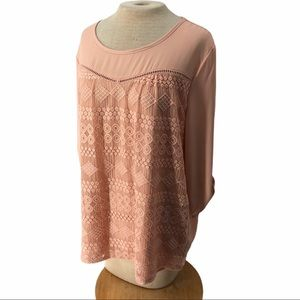 New Directions Lace Panel Blouse